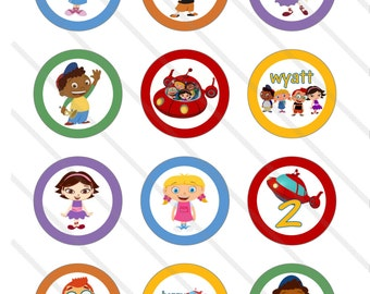 Disney Little Einsteins Birthday Party 2 inch Cupcake Toppers digital Printables Custom Party Favor Circles