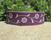 Leather Tooled Cuff Bracelet Elegant Flowers on Vine - Warm purple or another choice of color - Women Girl - Birthday Anniversary