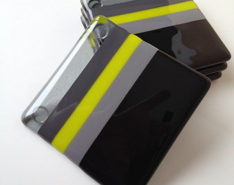 Fused Glass Coasters - Limelight in the Dark
