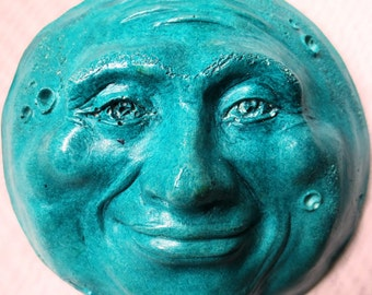 Turquoise Full Moon, a Cast Stone Sculpture for Home and Garden by Claybraven