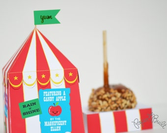 INSTANT DOWNLOAD - Printable Circus Tent Candy Apple/ Caramel Apple/ Carnival Apple Favor Box/ Gift Box from Paper Built