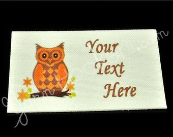 "Orange Owl - ""Iron On"" or ""Sew In"" - Cotton Fabric Labels (White) - For Crochet, Knit, Sew and Quilt Heirlooms"