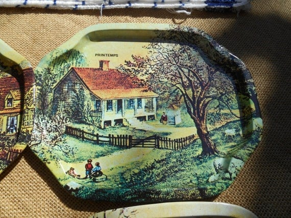 4 Seasons French Tin Trays Victorian Countryside Nature Small Snacks Tray French Scriptures Summer Fall Winter Spring #sophieladydeparis