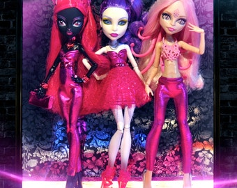 Monster Doll POP of Color HOT PINK 4 piece Collection w/ accessories