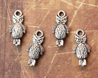 10 Tiny Owl Pendants/ Charms Antiqued Silver Double Sided