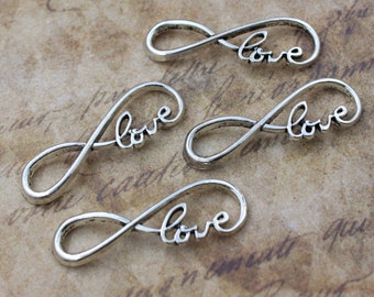 10 Infinity Love Charms Infinity Love Connector Antiqued Silver Tone 13 x 39 mm
