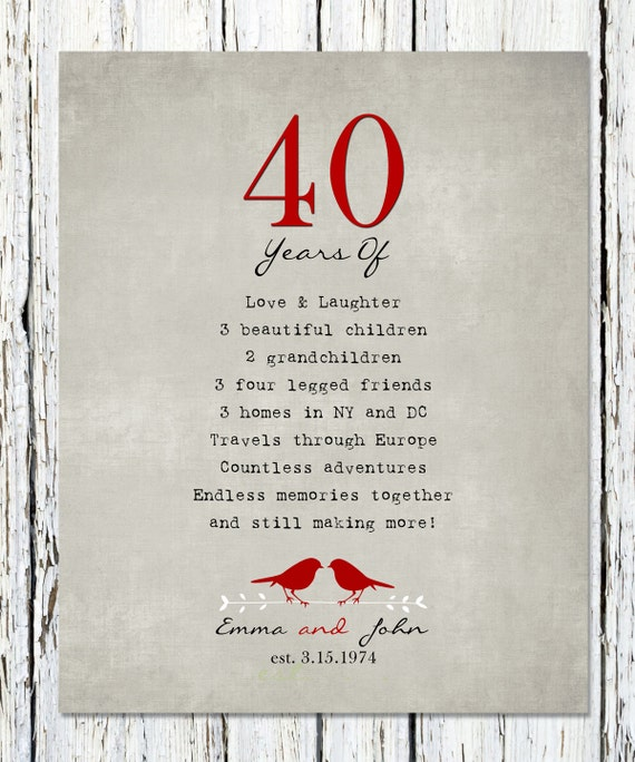 Wedding Anniversary Gifts For Parents 40 Years : Gift for parents, 40th RUBY Anniversary print, Personalized Wedding ...