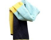 Lambswool Wrap- knitted in the UK with sea foam, summer yellow and charcoal grey wool in a geometric pattern. Knit by Gabrielle Vary