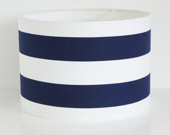 Lampshade Handmade 30 cm Drum lampshade in NAVY and White Horizontal stripe