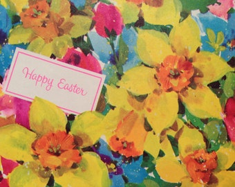 Easter gift wrap etsy vintage gift wrapping paper happy easter paper bright spring floral fields happy easter bouquets negle Gallery