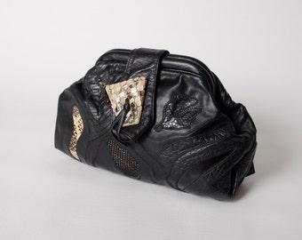 Vintage Sharif Handbag Purse - Black Leather - Snake Skin