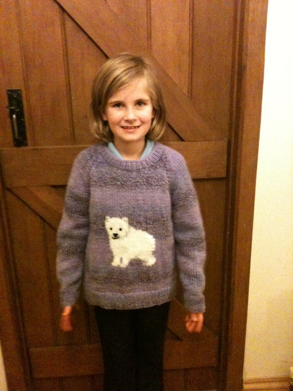 Knitting Pattern Bear Jumper : Polar Bear Jumper chunky knitting pattern age 4 to 10 years.