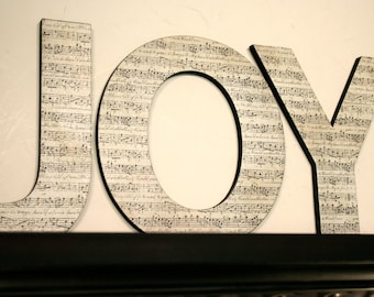 Sheet music wall letters, Home decor, Christmas wall decor, JOY letters, Shabby chic decor