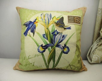 Linen pillow cover Throw Pillow Cover decorative pillow cushion cover bird pillow flower pillow double sides design