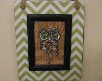 Owl Wall Decor, Owl Plaque, Chevron, Black, Lime Green, Burlap, Owl Home Decor, Owl Nursery, Steampunk, Three Dimensional