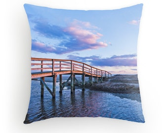 Ridgevale Beach Boardwalk Throw Pillow Chatham Cape Cod Boardwalk Beach Sunset