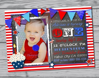 4th of July Birthday Party Invitation / fourth of July / Party supplies / favors / red white and blue / BBQ