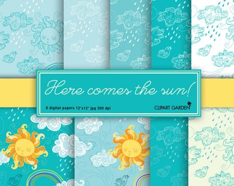 Sunny sky digital papers.