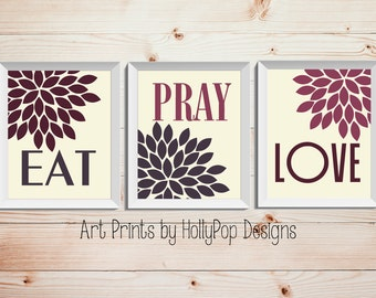 Set 3 Prints Inspirational Kitchen Dining Wall Decor Purple Cream Wall