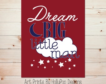 Baby Boy Nursery Decor Boys Rooms Wall Art Navy Blue Red Wall Decor Dream Big Print Modern Nursery Decor Inspirational Kids Decor #0619