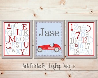 Boys room decor Baby boy prints Red blue Kids wall art Childrens wall decor Boy artwork Boy nursery art Playroom wall art Boy decor #0679