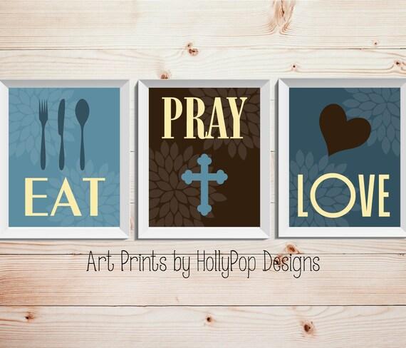 Modern Kitchen Wall Art Print Set Inspirational By: Eat Pray Love-Modern Kitchen Decor-Trio Floral Print Set-Set