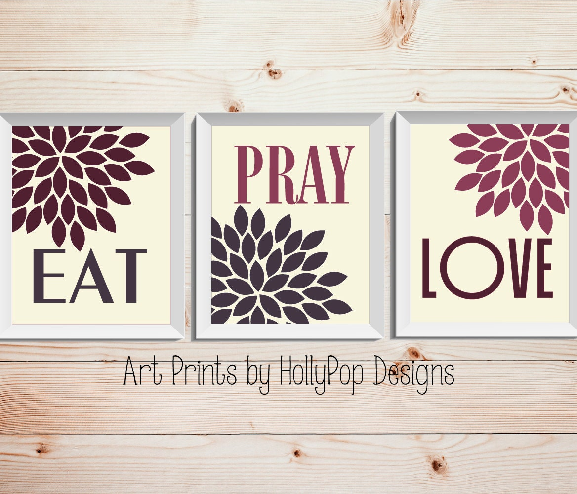 Modern kitchen wall decor eat pray love trio print set 3 for Contemporary kitchen art decor