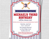 Baseball Birthday Invitation - Baseball Themed Party - Three Colors to Choose From - Digital Design or Printed Invitations - FREE SHIPPING