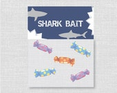 Printable Shark Party Treat Bag Topper - Shark Party Favor - Digital Design or Handcrafted Toppers - FREE SHIPPING