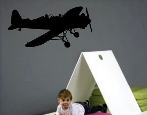 Airplane wall decal sticker vinyl mural kids room army for Airplane wall mural