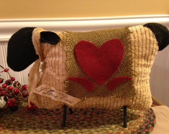 Handmade Primitive Country Folk Valentine Large Fabric Sheep with Heart Blanket Shelf Sitter