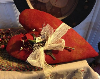 Handmade Large Primitive Valentine Heart with Rose Wall or Door Hanger, Be Mine