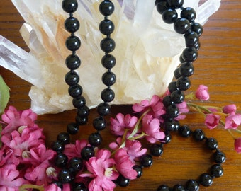 Long Beautiful Vintage Onyx Necklace