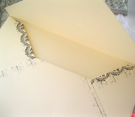 6x9 Wedding Invitation Envelopes: 20 Ivory Envelopes Handmade Large A9 Lace And Bow Euro