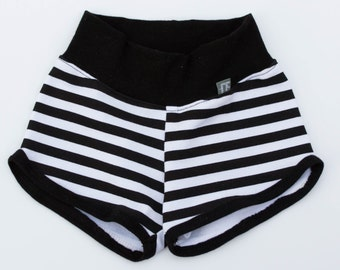 Black and White stripe shorts. newborn to 5/6. unisex shorts