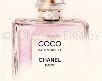 Coco Mademoiselle Perfume Bottle A5 Colour Pencil Drawing Limited Edition Print
