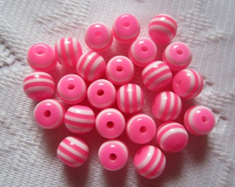 25  Neon Hot Pink & White Striped Round Acrylic Resin Beads  6mm