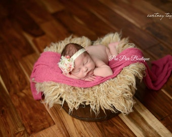 Floral Headband - Shabby Chic Headband - Ivory - Newborn Headband - Infant Headband - Baby Headband - Toddler Headband - Shabby Chic