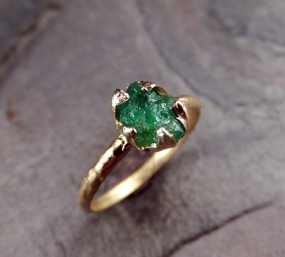 Raw Emerald Ring in 14K yellow gold green uncut rough gemstone recycled gold stacking size 8 statement byAngeline