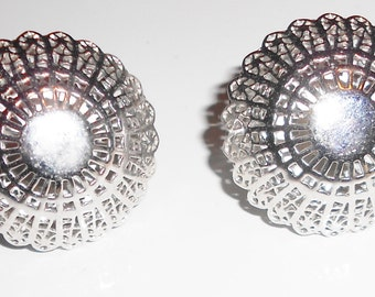 vintage clip on earrings 1940s Trifari crown  in large silver tone beautiful domed filigree metal work FREE USA SHIPPING