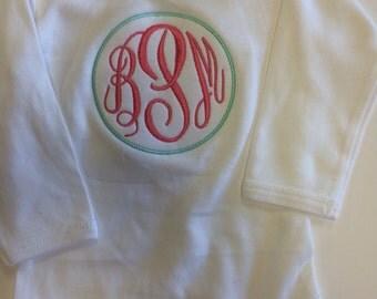 Monogrammed long sleeve onesie