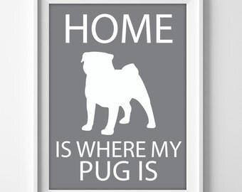 Pug Wall Art, Pet Pug Gift,  Pug Puppy Gift, Pug Decor, Pug Lover Birthday, Pugs Dog Art, Minimalist Pug Art, Pug Lover Gift, Pet Pugs Art