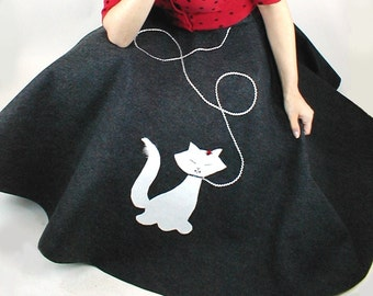 Adult Hand-Made Poodle Skirt Slinky Cat Available in a Variety of Sizes and Colors