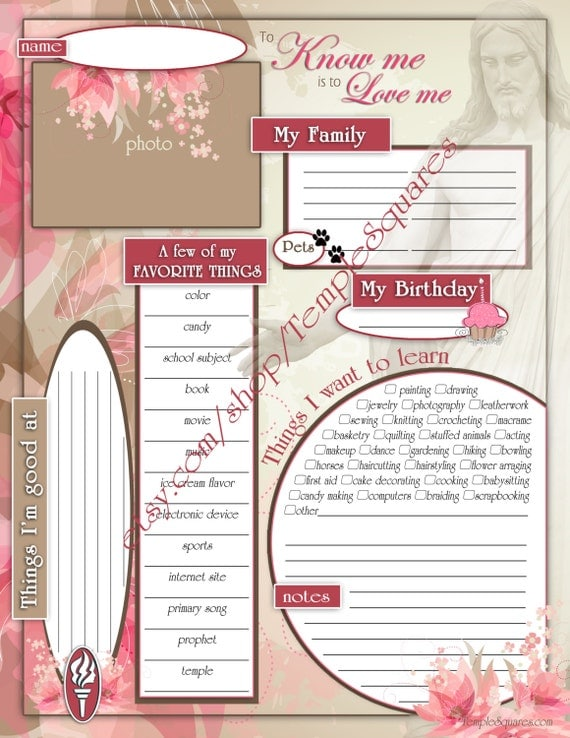 """Printable YW Presidency 2015 Calendar Planner ADD-ON """"Getting To Know Me Questionnaire"""" Embark in the Service of God theme"""