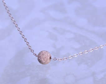 Rose gold bead necklace, Rose gold stardust ball necklace, Rose gold filled necklace
