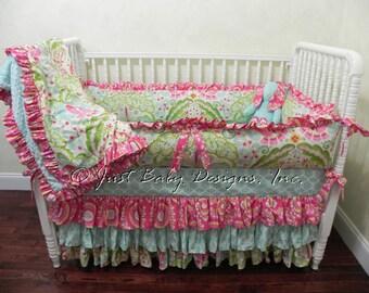 Baby Crib Bedding Set Sheena - Girl Baby Bedding, Kumari Garden Bedding, Ruffle Skirt