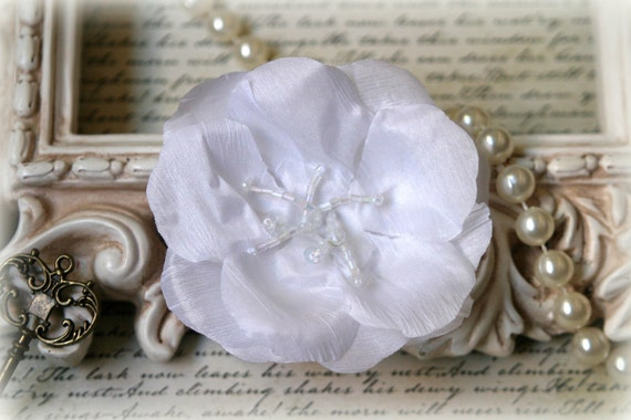 White Fabric Flower with Beaded Center For Headbands, Sashes, Clothing, Crafting etc Approx. 3.5 inches across  FL-112