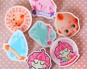 1 pcs / Decoden / PVC / Cute / Breastpin / Badges / Brooch / Blythe Doll Accessories / Supabonbon Handmade Project / DIY / Handwork