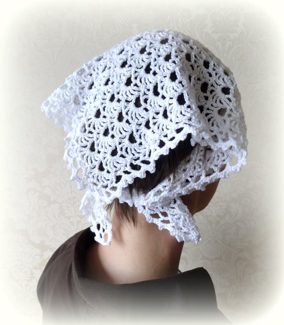 Crochet Hair On White Girl : White Kerchief Crochet Shawl Hair Bandana Crochet Lace Headband Hair ...