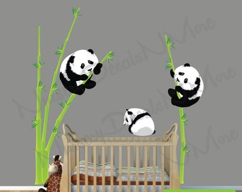 Panda Bear Wall Decal, Bamboo Wall Sticker, Repositionable, Reusable